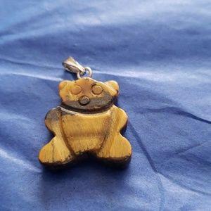 Tigers eye bear pendant